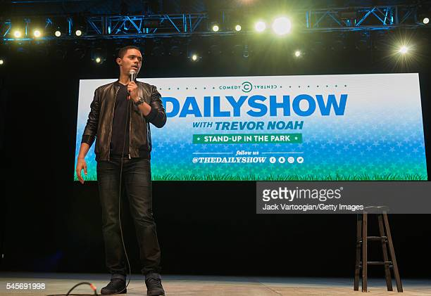 South African comedian and actor Trevor Noah performs at the 'Comedy Central presents The Daily Show with Trevor Noah StandUp in the Park' show at...