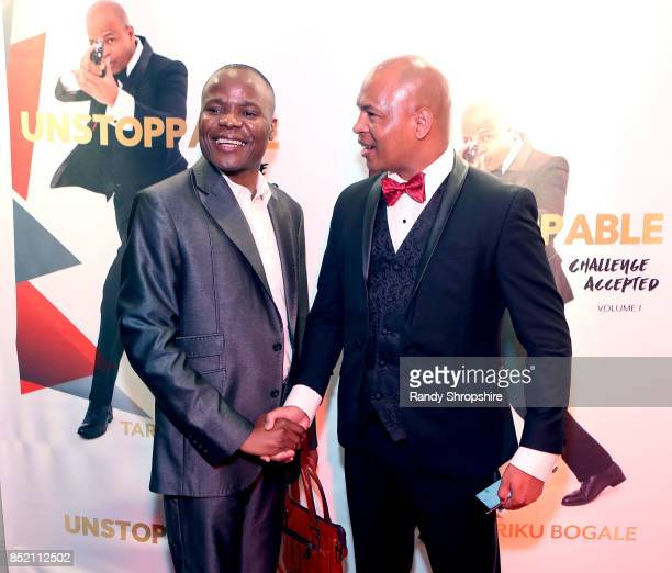 South African Consulate Nepfumbada Shadrack and Tariku Bogale attend 'Unstoppable' Tariku Bogale book launch on September 22 2017 in West Hollywood...
