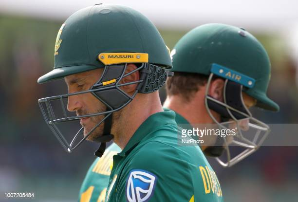 South African cricket captain Faf Du Plessis during the 1st One Day International cricket match between Sri Lanka and South Africa at Rangiri...