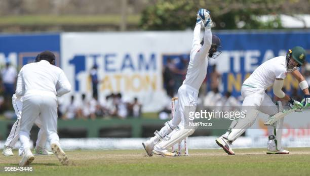 South African cricket captain Faf Du Plessis is dismissed during the 3rd day's play in the first Test cricket match between Sri Lanka and South...