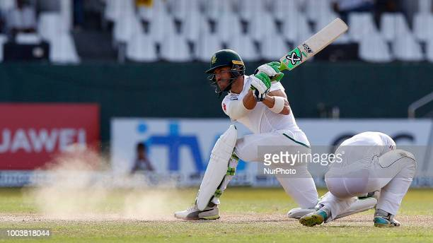 South African cricket captain Faf Du Plessis plays a shot during the 3rd day's play in the 2nd test cricket match between Sri Lanka and South Africa...