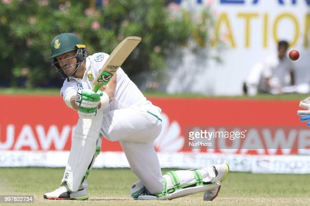 South African cricket captain Faf Du Plessis plays a shot during the 2nd day's play in the first Test cricket match between Sri Lanka and South...