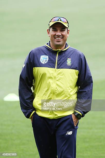 South African cricket coach Russell Domingo looks on during a South African training session at Adelaide Oval on November 22 2016 in Adelaide...