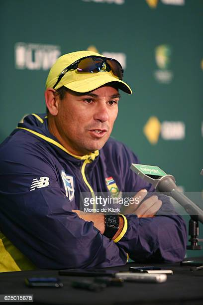 South African cricket coach Russell Domingo speaks to media during a South African media session at Adelaide Oval on November 22 2016 in Adelaide...