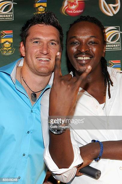 South African cricket player Graeme Smith and DJ Bad Boy T pose for a photo during the South Africa Cricket Fashion Show 2008/2009 One Day...