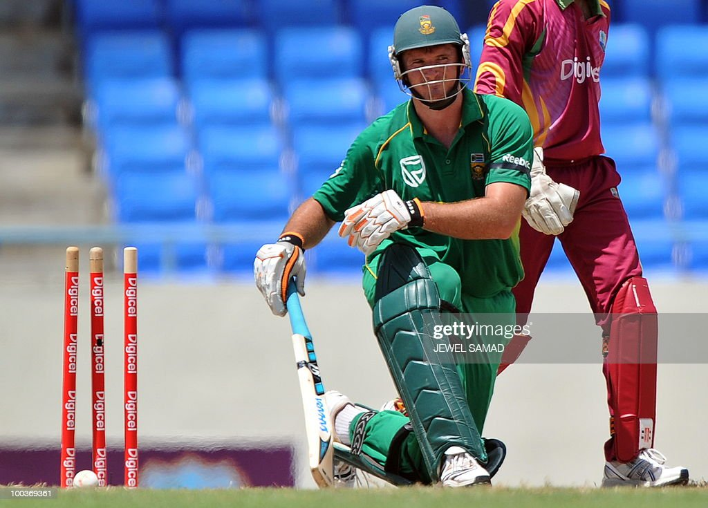 South African cricket team captain Graeme Smith is clean bowled off West Indies bowler Nikita Miller during the second One Day International match between West Indies and South Africa at the Sir Vivian Richards Stadium in St John's on May 24, 2010. AFP PHOTO/Jewel Samad