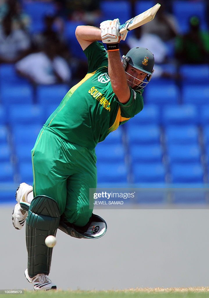 South African cricket team captain Graeme Smith plays a shot during the second One Day International match between West Indies and South Africa at the Sir Vivian Richards Stadium in St John's on May 24, 2010. AFP PHOTO/Jewel Samad