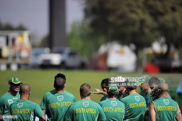 South African cricket team gather togheter ahead of their training session on September 21 2009 on the eve of the first match of the ICC Champions...