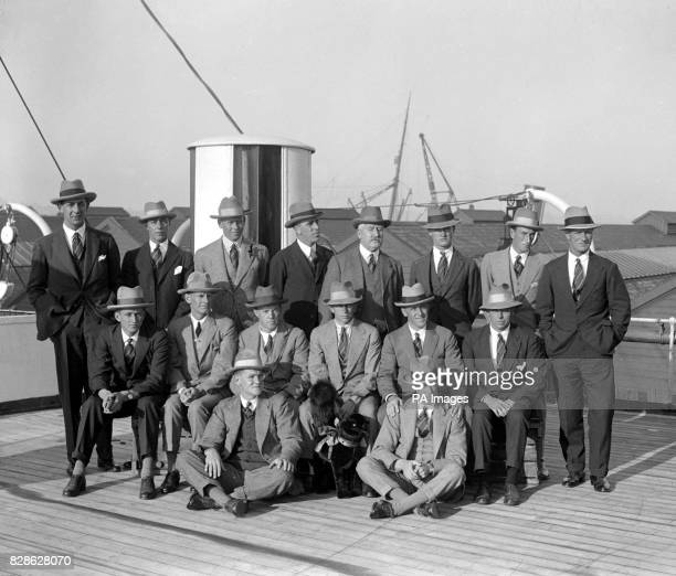 South African Cricket team photograph on board the Arundel Castle at Southampton Left to Right Front Row R H Caterall D J Meintzes Second Row E P...