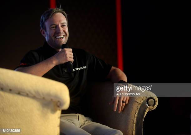 South African cricketer AB de Villiers attends the launch of a MRFbrand tyre in Chennai on August 29 2017 Villiers has been a brand ambassador for...