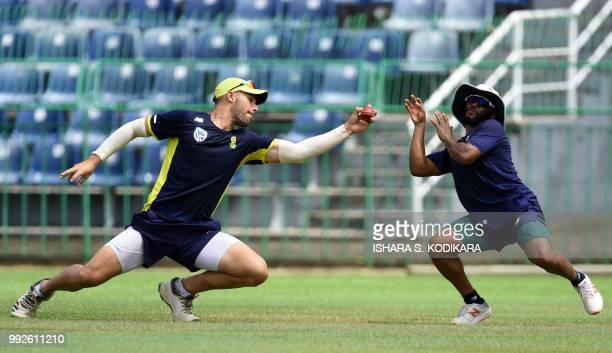 South African cricketer Aiden Markram catches the ball during a practice session at the RPremadasa Stadium in Colombo on July 6 2018 South Africa...