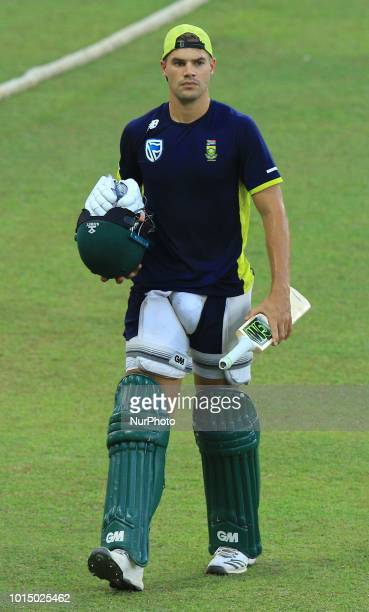 South African cricketer Aiden Markram during a practice session ahead of the 5th One Day International against the South Africa at R Premadasa...