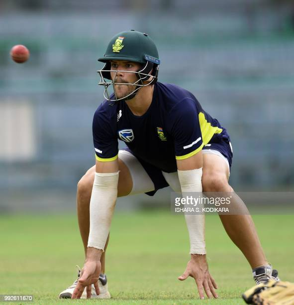 South African cricketer Aiden Markram prepares to catch the ball during a practice session at the RPremadasa Stadium in Colombo on July 6 2018 South...