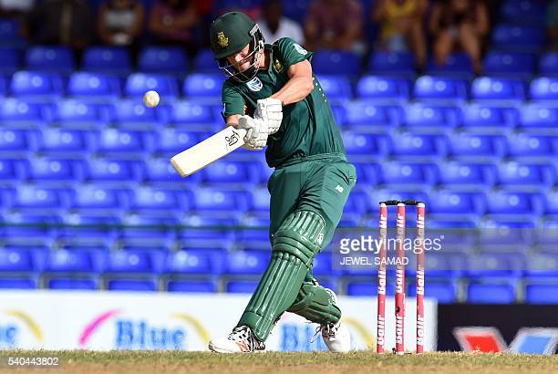 South African cricketer Chris Morris plays a shot during the 6th One Day International match of the Trination Series between West Indies and South...