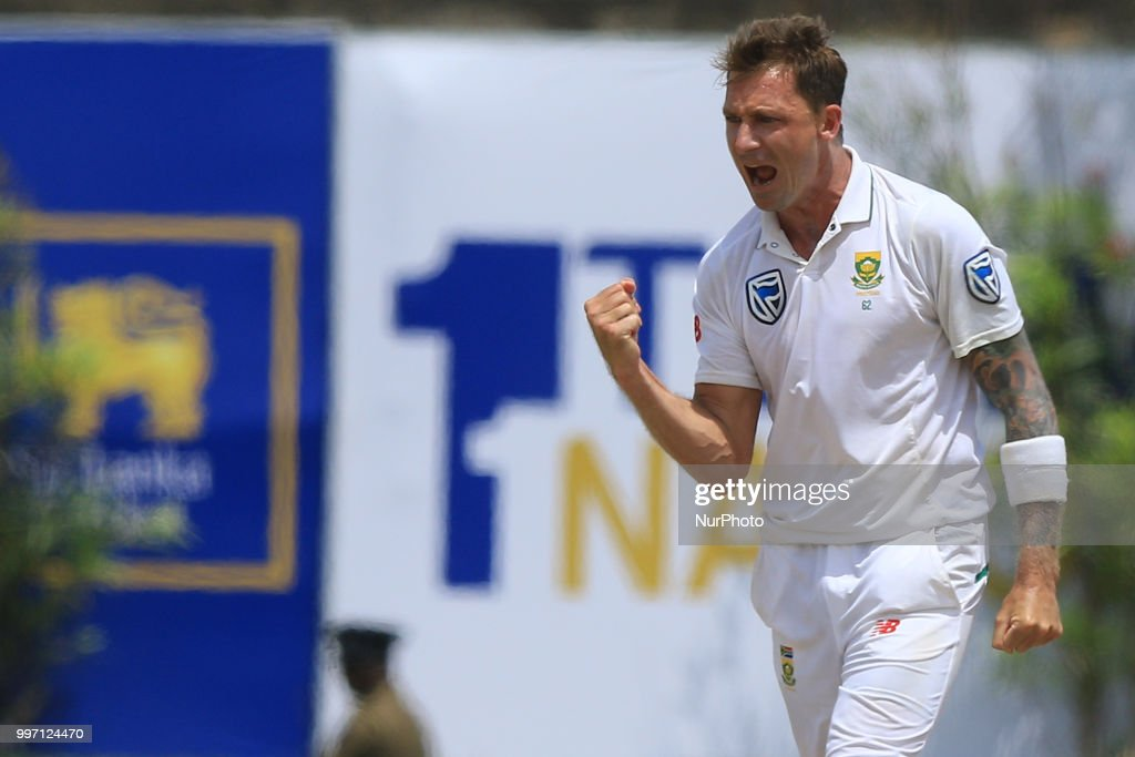 South African cricketer Dale Steyn celebrates after scoring 100 runs during the 1st Day's play of the 1st Test match between Sri Lanka and South Africa at Galle International Cricket stadium, Galle on Thursday 12 July 2018.