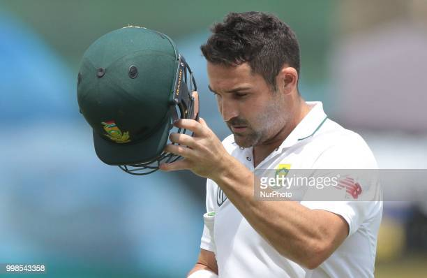 South African cricketer Dean Elgar leaves the field after his dismissal during the 3rd day's play in the first Test cricket match between Sri Lanka...