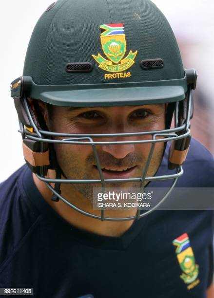 South African cricketer Dean Elgar looks on during a practice session at the RPremadasa Stadium in Colombo on July 6 2018 South Africa will play two...