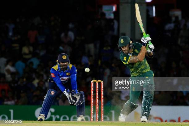 South African cricketer Faf Du Plessis plays a shot during the 2nd One Day International cricket match between Sri Lanka and South Africa at Rangiri...