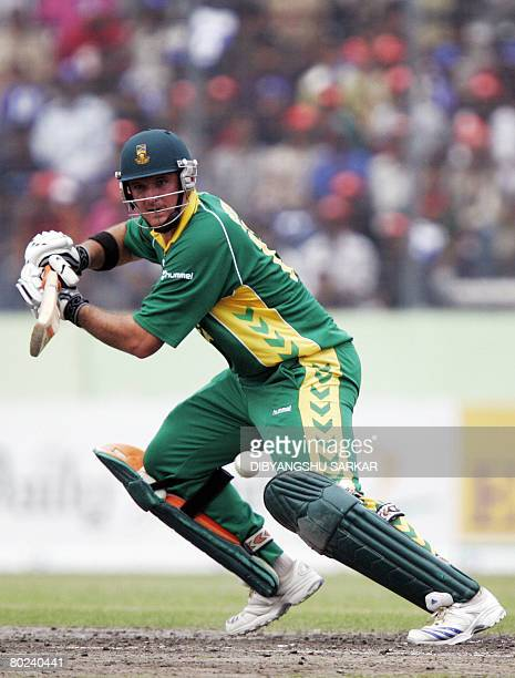 South African cricketer Graeme Smith plays a shot during the final One Day International between South Africa and host Bangladesh at the...