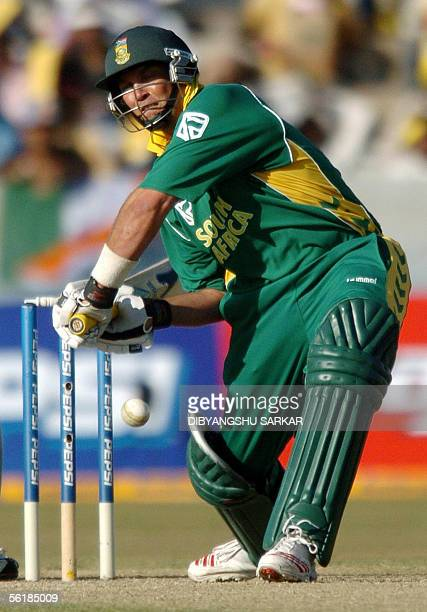 South African cricketer Jacques Kallis hits a boundary during the first One Day International match between India and South Africa in Hyderabad, 16...