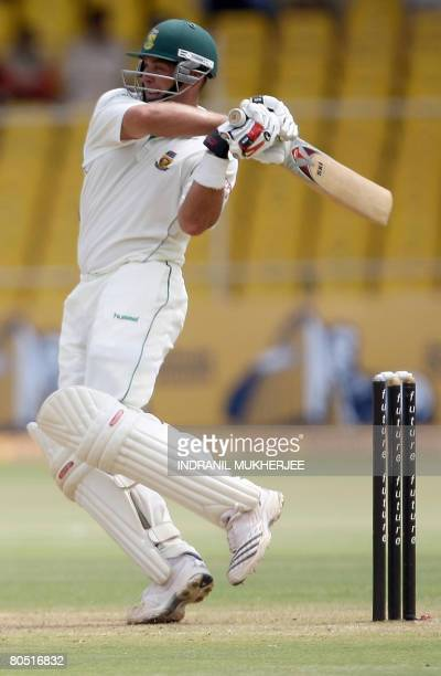 South African cricketer Jacques Kallis plays a shot on the second day of the second Test match between India and South Africa in Ahmedabad on April...