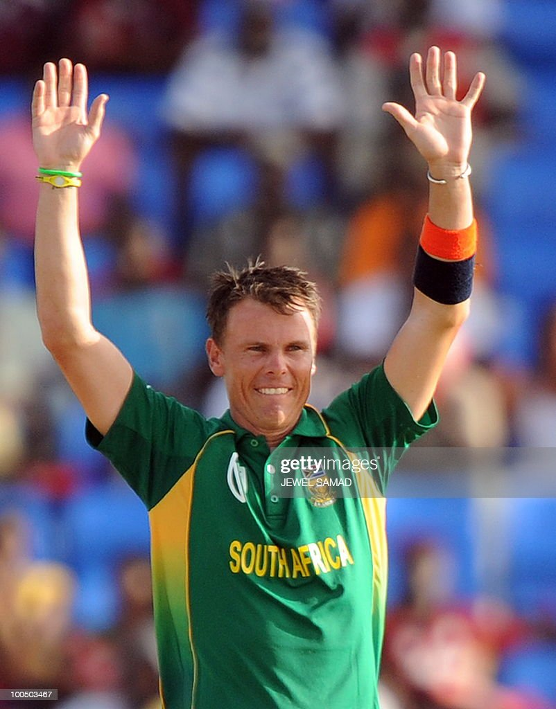 South African cricketer Johan Botha celebrates after dismissing West Indies batsman Ramnaresh Sarwan during the second One Day International match between West Indies and South Africa at the Sir Vivian Richards Stadium in St John's on May 24, 2010. Batting first, South Africa scored 300-runs at the end of their innings. AFP PHOTO/Jewel Samad