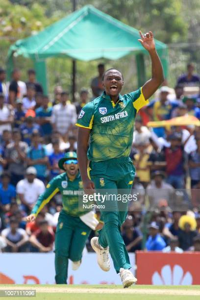 South African cricketer Kagiso Rabada celebrates during the 1st One Day International cricket match between Sri Lanka and South Africa at Rangiri...