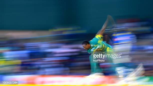 South African cricketer Kagiso Rabada delivers a ball during the 2nd One Day International cricket match between Sri Lanka and South Africa at...
