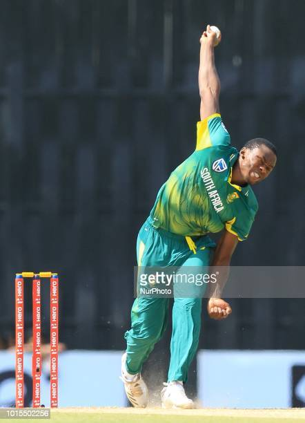South African cricketer Kagiso Rabada delivers a ball during the 5th and final One Day International cricket match at R Premadasa International...