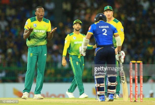 South African cricketer Kagiso Rabada gestures during the only Twenty20 cricket match between Sri Lanka and South Africa at R Premadasa International...
