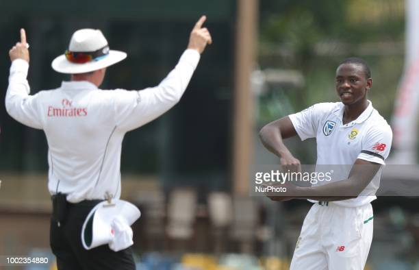 South African cricketer Kagiso Rabada gestures to on field umpire during the 2nd test cricket match between Sri Lanka and South Africa at SSC...
