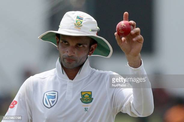 South African cricketer Keshav Maharaj after taking 9 wickets during the 2nd day's play in the 2nd test cricket match between Sri Lanka and South...