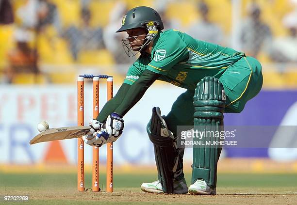 South African cricketer Loots Bosman plays a shot during the third and final One Day International cricket match between India and South Africa at...