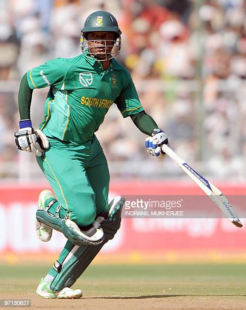 South African cricketer Loots Bosman runs between the wickets during the third and final One Day International cricket match between India and South...