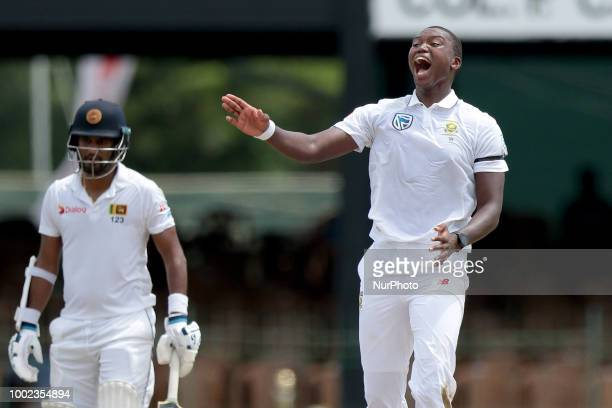 South African cricketer Lungi Ngidi appeals during the first day of the 2nd test cricket match between Sri Lanka and South Africa at SSC...