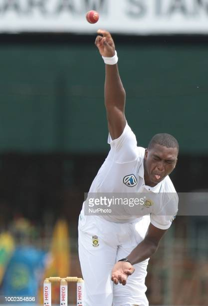 South African cricketer Lungi Ngidi bowls during the first day of the 2nd test cricket match between Sri Lanka and South Africa at SSC International...
