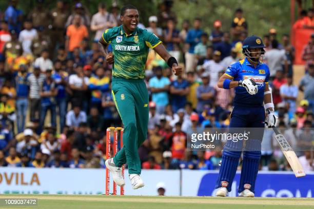 South African cricketer Lungi Ngidi celebrates during the 2nd One Day International cricket match between Sri Lanka and South Africa at Rangiri...