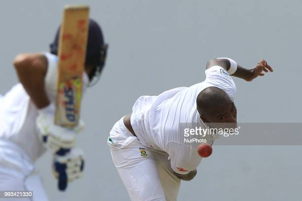 South African cricketer Lungi Ngidi delivers a ball during the first day of their Tour match against Sri Lanka Board XI at Colombo Sri Lanka on...