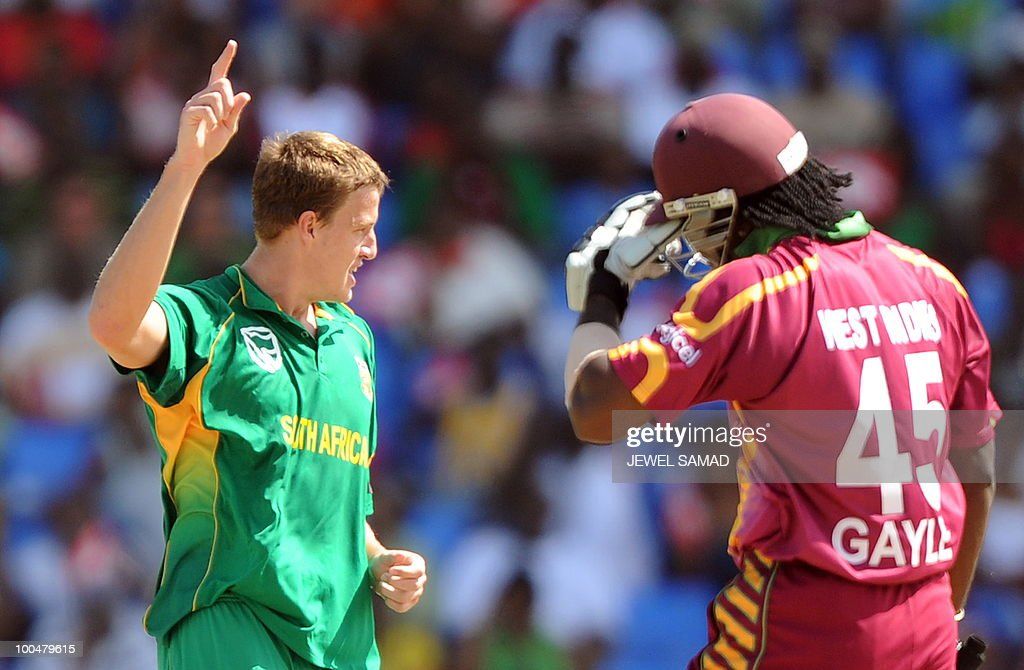 South African cricketer Morne Morkel (L) celebrates after dismissing West Indies cricket team captian Chris Gayle during the second One Day International match between West Indies and South Africa at the Sir Vivian Richards Stadium in St John's on May 24, 2010. Batting first, South Africa scored 300-runs at the end of their innings. AFP PHOTO/Jewel Samad