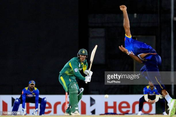 South African cricketer Quinton de Kock bats during the 2nd One Day International cricket match between Sri Lanka and South Africa at Rangiri...