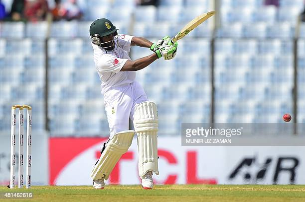 South African cricketer Temba Bavuma plays a shot during the first day of the first Test match between Bangladesh and South Africa at the Zahur Ahmed...