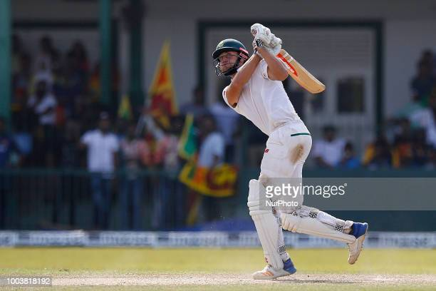 South African cricketer Theunis de Bruyn plays a shot during the 3rd day's play in the 2nd test cricket match between Sri Lanka and South Africa at...