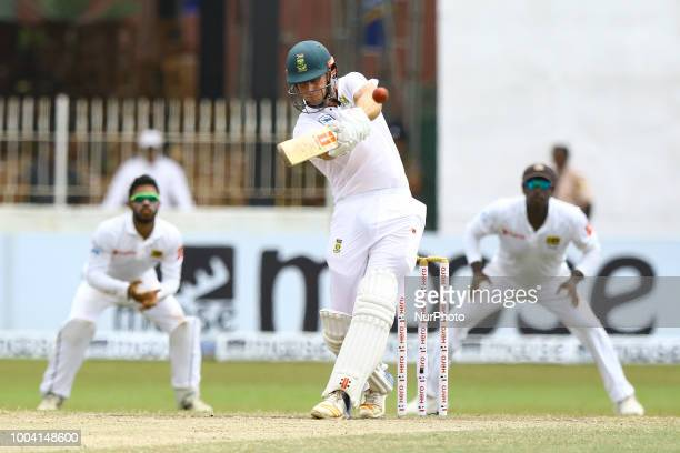 South African cricketer Theunis de Bruyn plays a shot during the 4th day's play in the 2nd test cricket match between Sri Lanka and South Africa at...