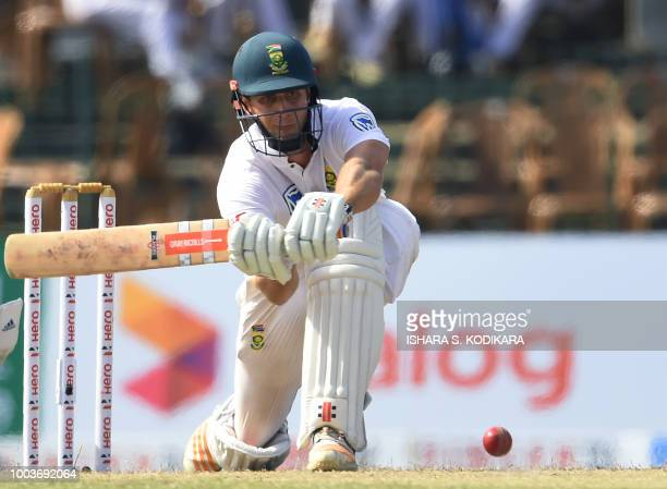 South African cricketer Theunis de Bruyn plays a shot during the third day of the second Test match between Sri Lanka and South Africa at the...