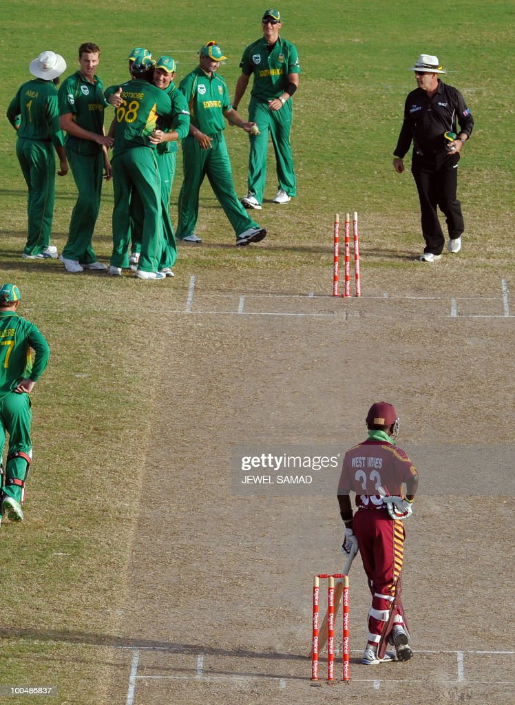 South African cricketers celebrate their victory at the end of the second One Day International match between West Indies and South Africa at the Sir Vivian Richards Stadium in St John's on May 24, 2010. South Africa defeated West Indies by 17-runs. AFP PHOTO/Jewel Samad