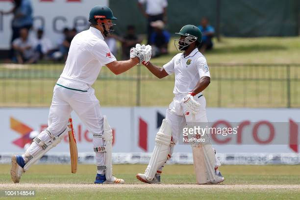 South African cricketers Theunis de Bruyn and Temba Bavuma during the 4th day's play in the 2nd test cricket match between Sri Lanka and South Africa...