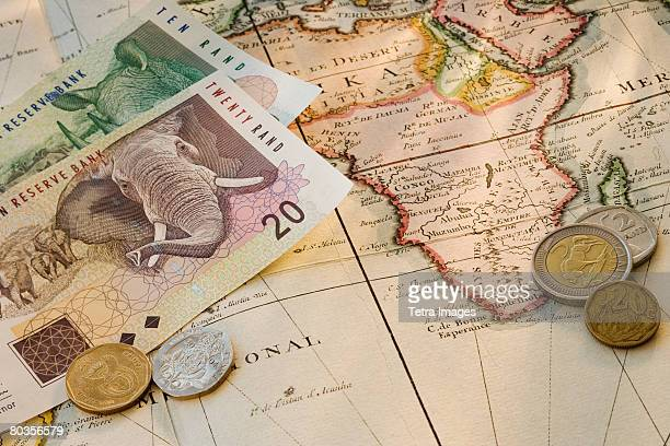 south african currency on map - south african currency stock photos and pictures