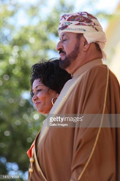 South African Defence Minister Lindiwe Sisulu and her counterpart in the Arab emirate of Oman Sayyid Bader Bin Saud bin Harib AlBusaidi inspect a...