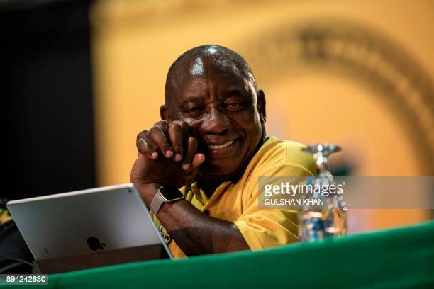 South African Deputy President and ANC Presidential candidate Cyril Ramaphosa looks on as he attends a plenary meeting at the NASREC Expo Centre...