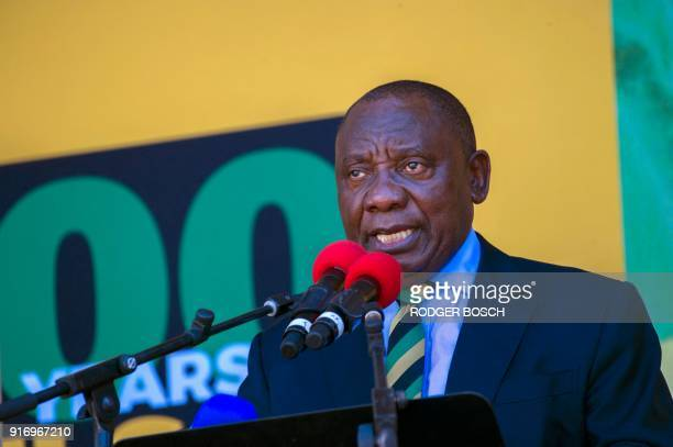 South African Deputy President and newlyelected president of the ruling African National Congress Cyril Ramaphosa speaks during a rally on February...